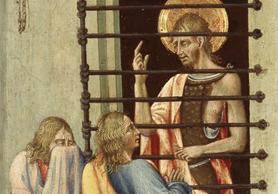 """""""St. John the Baptist in Prison Visited by Two Disciples"""" (1455-60, detail) by Giovanni di Paolo (Art Institute of Chicago)"""