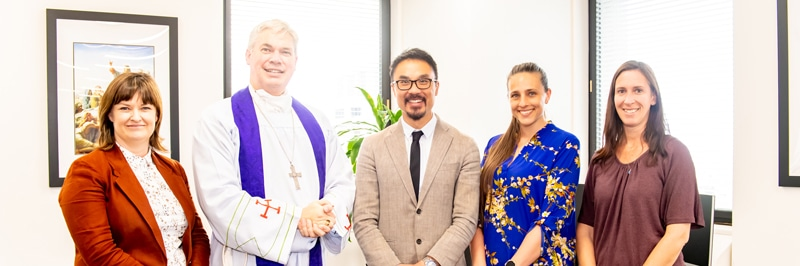 Elizabeth Arblaster, Bishop Richard Umbers, Daniel Ang, Tania Rimac and Helen Wagner.