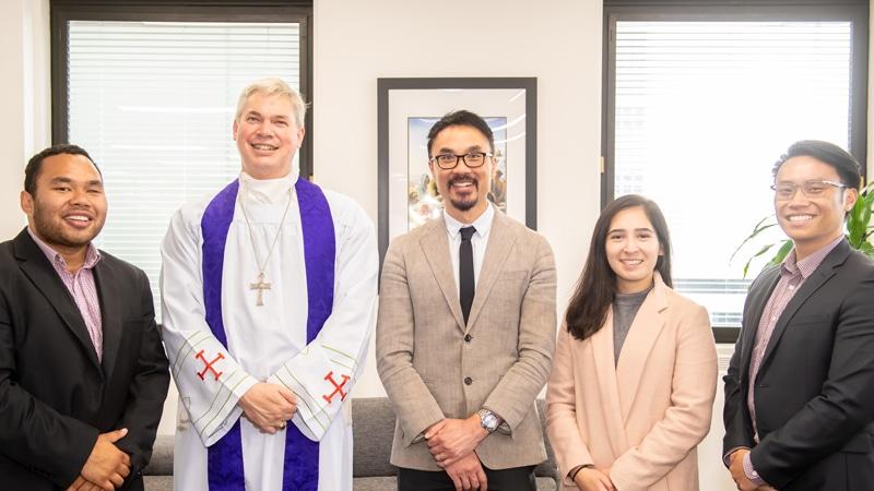 Chris Lee, Bishop Richard Umbers, Daniel Ang, Elizabeth Pasion and John Nguyen.