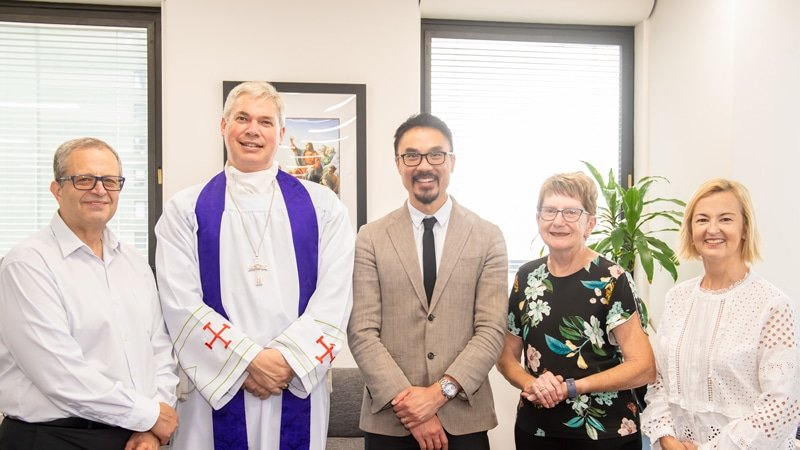 Atef Ataya, Bishop Richard Umbers, Daniel Ang, Eleanor Emmerson and Priscilla Donovan.